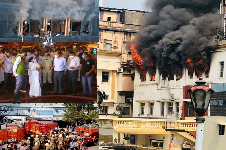 A massive fire in a multi-storey building on Kolkata